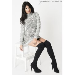 Grey Cable Knit Jumper Dress