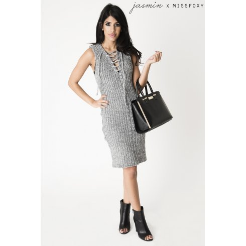 Grey Sleeveless Jumper Dress with Lace Up Detail