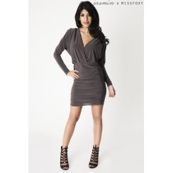 Grey V-Neck Plunge Dress