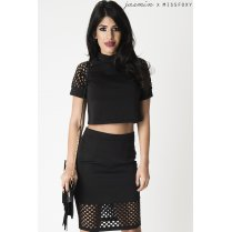 Grid Cut Out Crop Top in Black