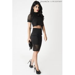 Grid Cut Out Midi Skirt in Black