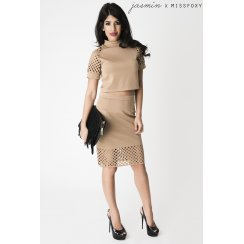 Grid Cut Out Midi Skirt in Camel