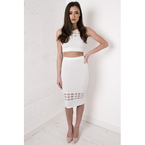 Grid Mesh Skirt in White