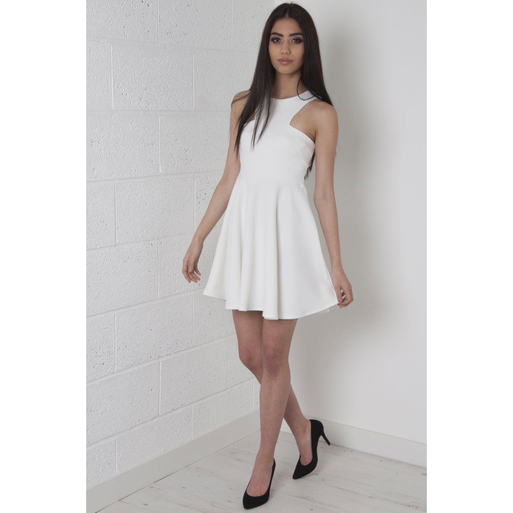 4a8b4d421e73 Halter-Neck Skater Dress in White