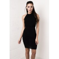 Halterneck Backless Midi Dress in Black