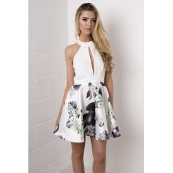 Halterneck Cut-Out Print Dress in White
