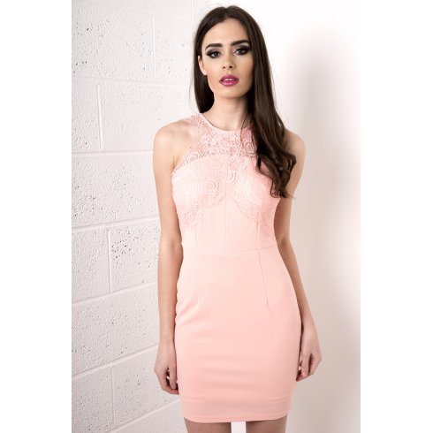 Halterneck Lace Mini Dress in Pink