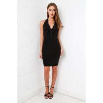 Halterneck Plunge Tie-up Dress in Black