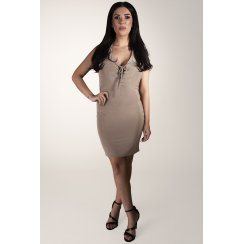 Halterneck Plunge Tie-up Dress in Nude