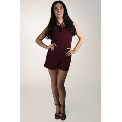 Halterneck Suede Playsuit in Maroon