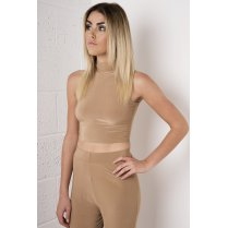 High Neck Crop Top in Camel
