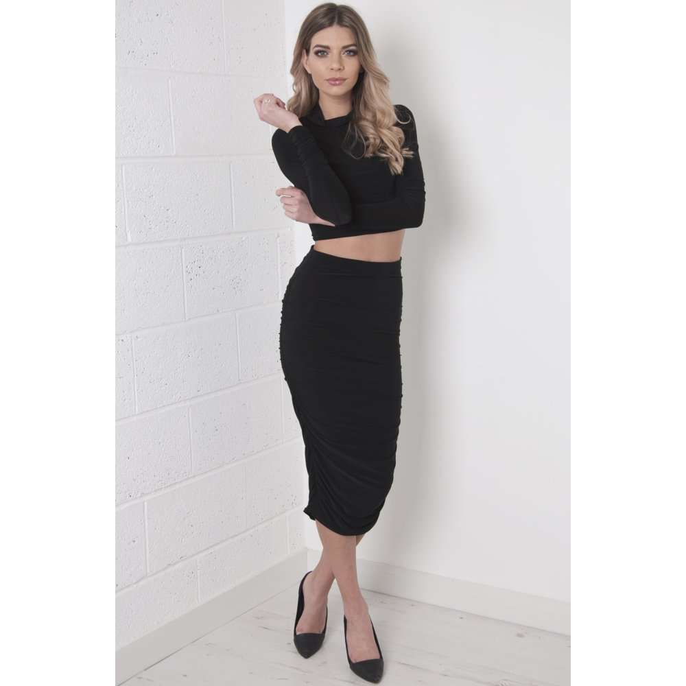836ecbd1b7714b ... High Neck Crop Top with Ruched Sleeves in Black ...