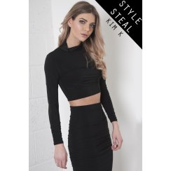 High Neck Crop Top with Ruched Sleeves in Black