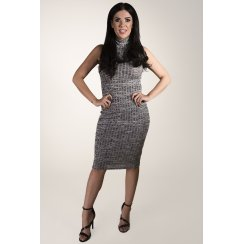 High Neck Grey Midi Dress