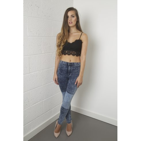 High Waisted Acid Wash Skinny Jeans with Panelled Detail