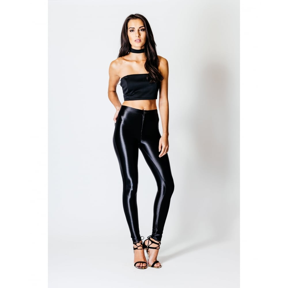 Clothing jeans amp trousers high waisted disco pants in black