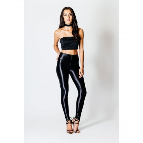 High Waisted Disco Pants In Black