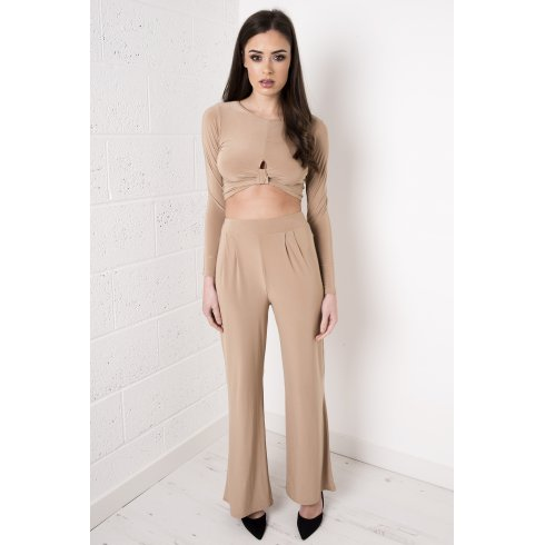 High Waisted Flared Trousers in Camel