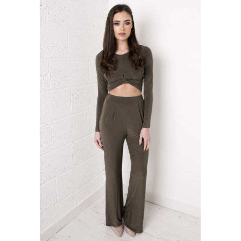 High Waisted Flared Trousers in Khaki