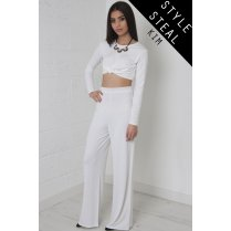 High Waisted Flared Trousers in White