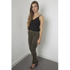 High Waisted High Rise Skinny Jeans in Green