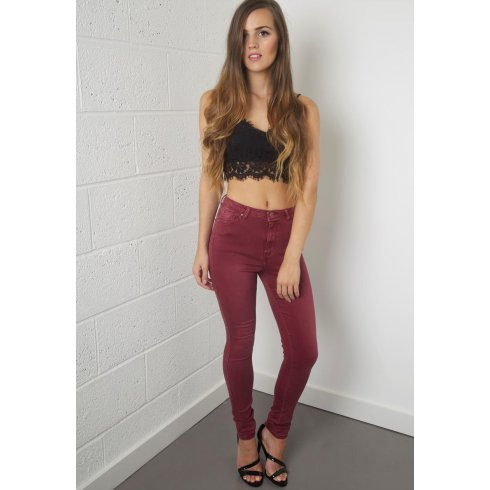 High Waisted High Rise Skinny Jeans in Maroon