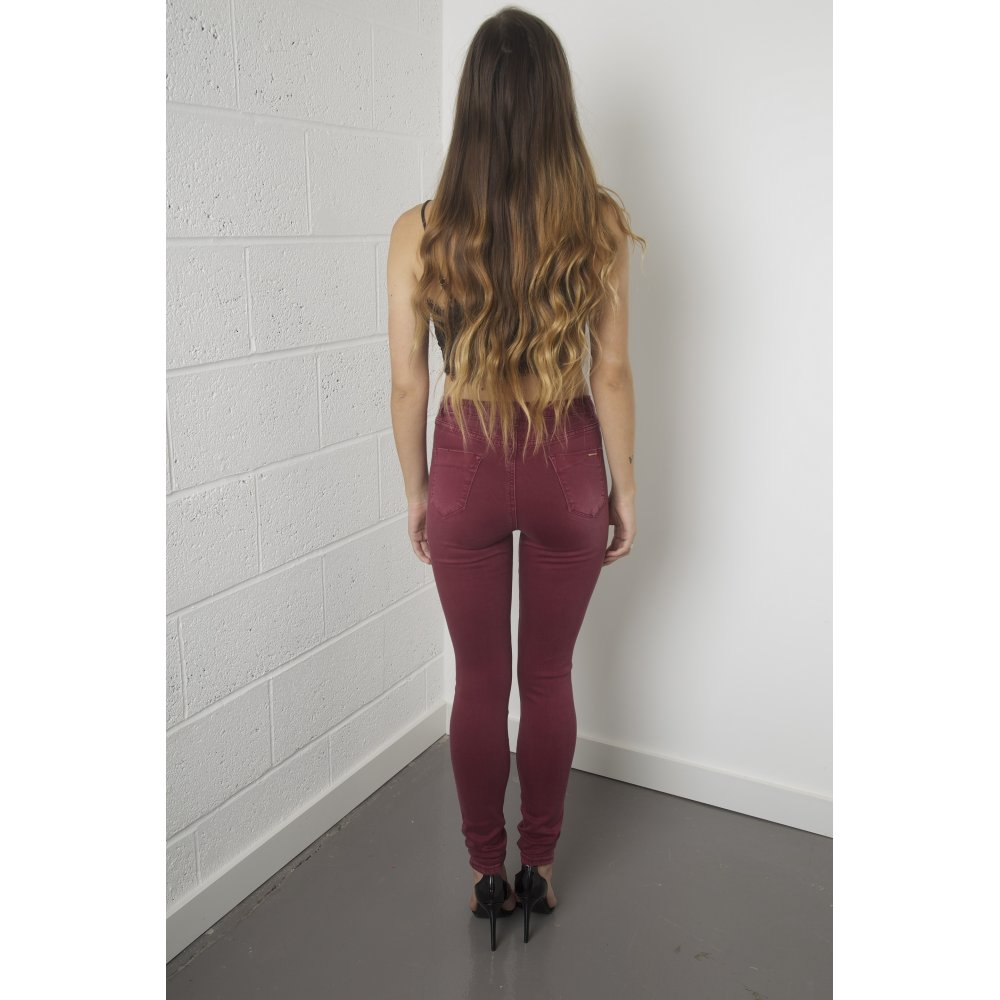 Waisted High Rise Skinny Jeans in Maroon
