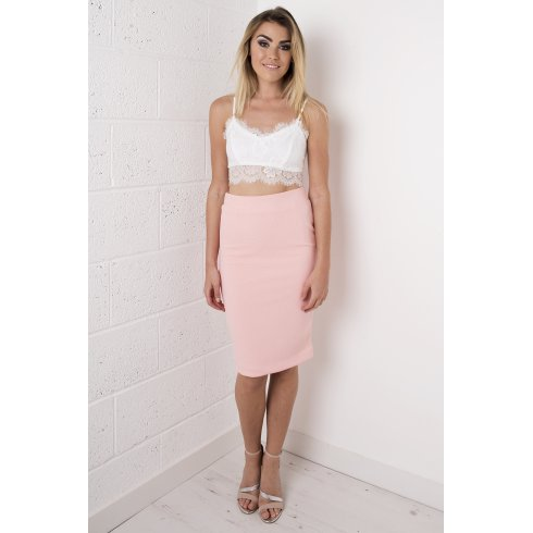 High Waisted Midi Skirt in Peach
