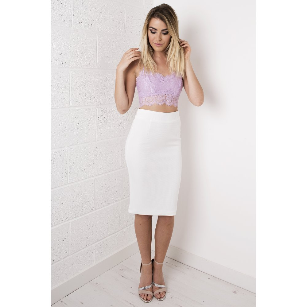 Waisted Midi Skirt in White