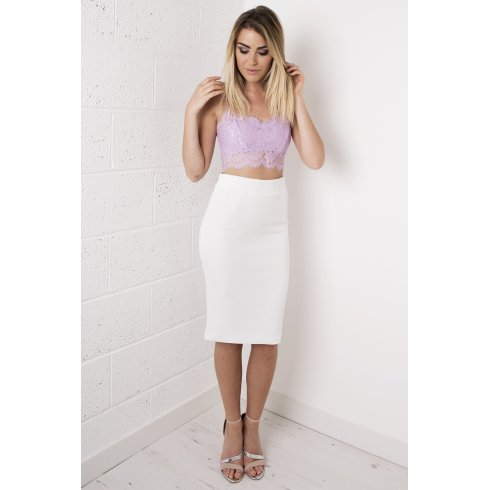 High-Waisted Midi Skirt in White