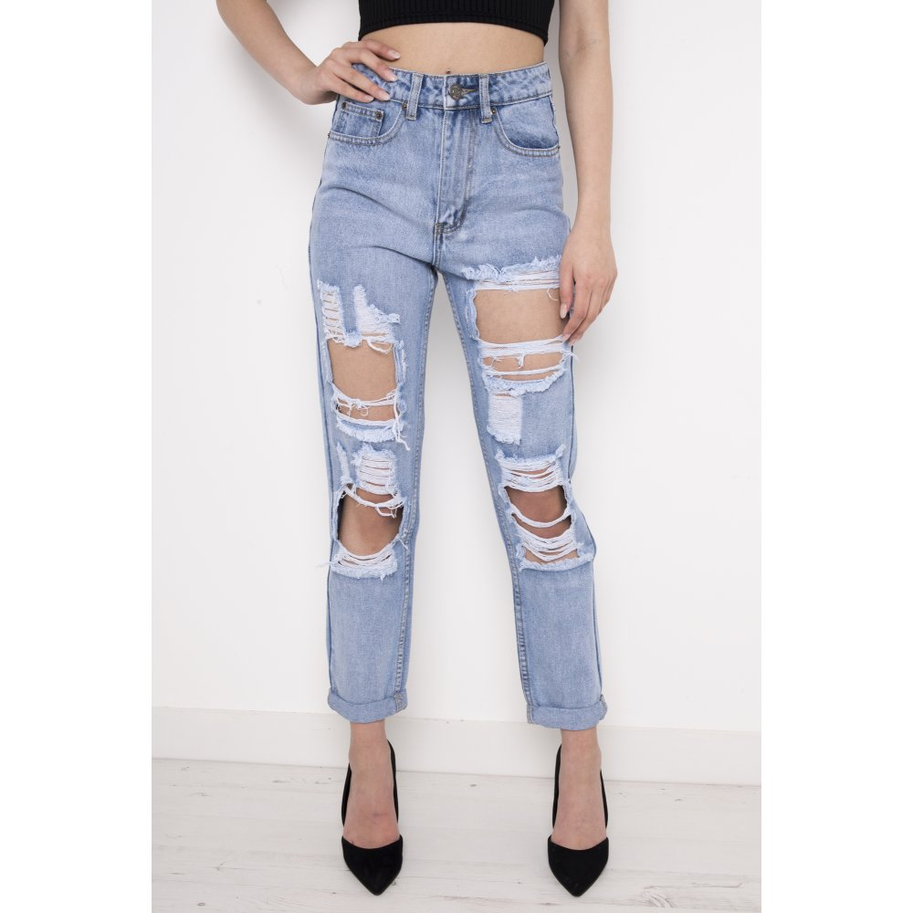 high waisted ripped boyfriend jeans jeans am. Black Bedroom Furniture Sets. Home Design Ideas
