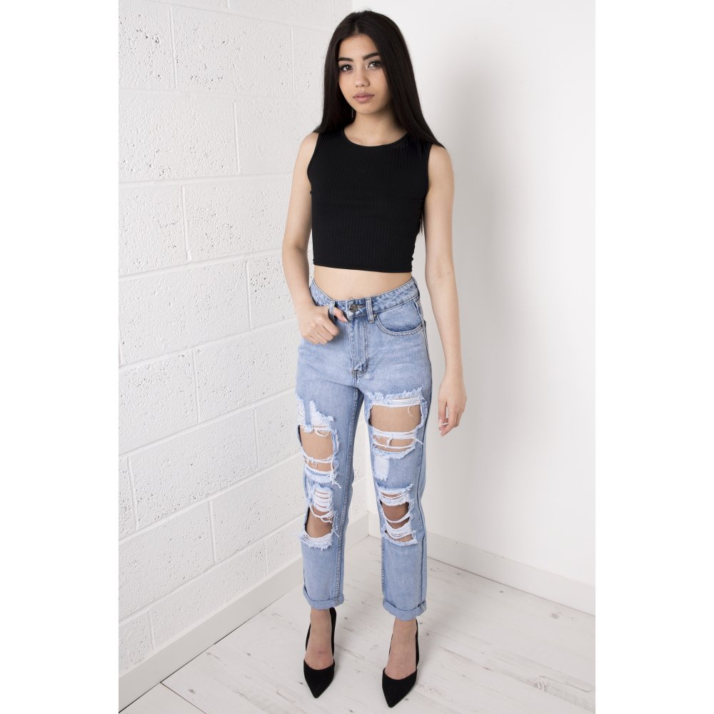 Waisted Ripped Boyfriend Jeans in Light Wash