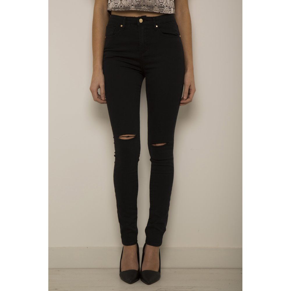Waisted Ripped Skinny Jeans in Black