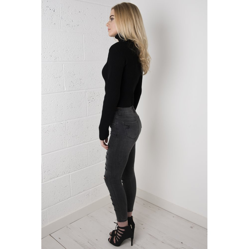 Waisted Ripped Skinny Jeans in Dark Grey