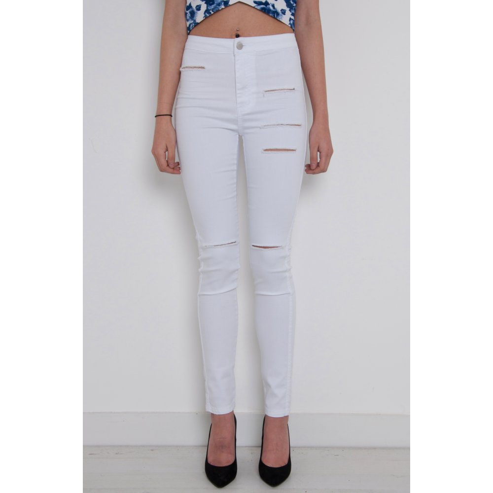 e5f707820a32 High Waisted Ripped Skinny Jeans in White