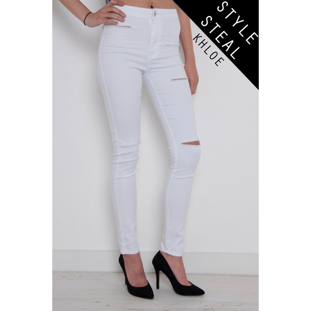 White ripped skinny jeans high waisted – Global fashion jeans models