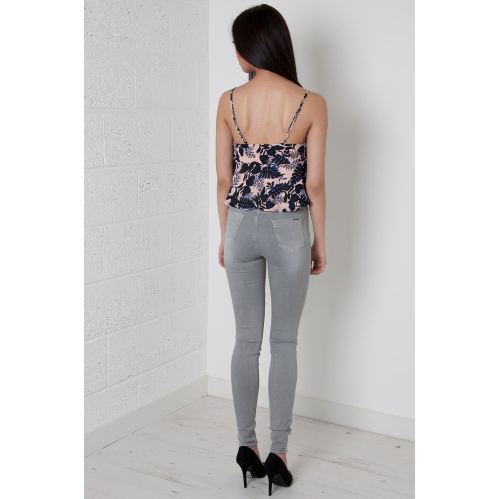 Waisted Skinny Jeans in Grey
