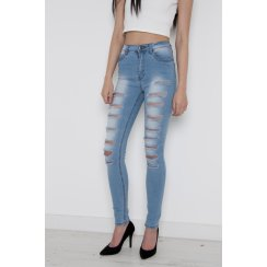 High Waisted Super Ripped Skinny Jeans in Light Wash