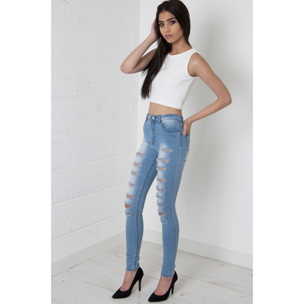 Waisted Super Ripped Skinny Jeans in Light Wash