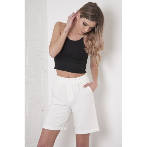 High Waisted Tailored City Shorts in White