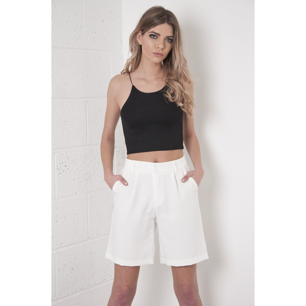 Waisted Tailored City Shorts in White