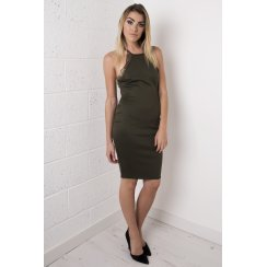 Khaki Bodycon Midi Dress with Lace Detailing