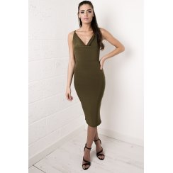 Khaki Draped Cross Strapped Dress