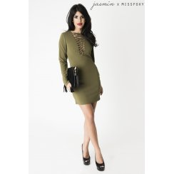 Khaki Long Sleeve Dress with Tie Up Detail