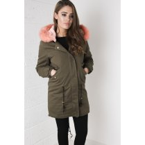 Khaki Parka Coat with Bright Pink Fur