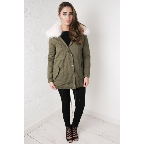 Khaki Parka Coat with Light Pink Fur