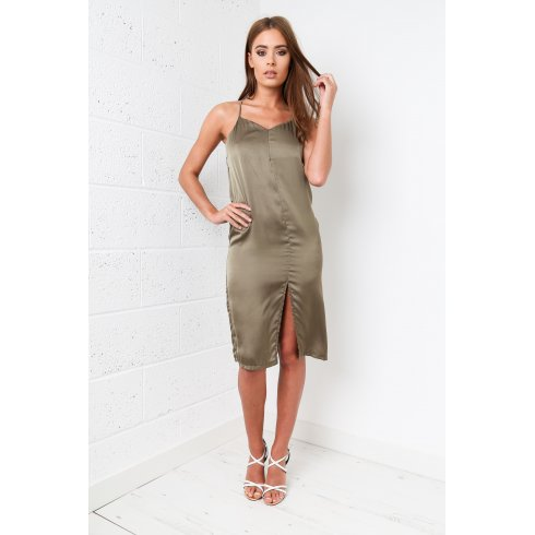 Khaki Silk Midi Dress