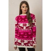 Knitted Christmas Jumper Dress in Pink