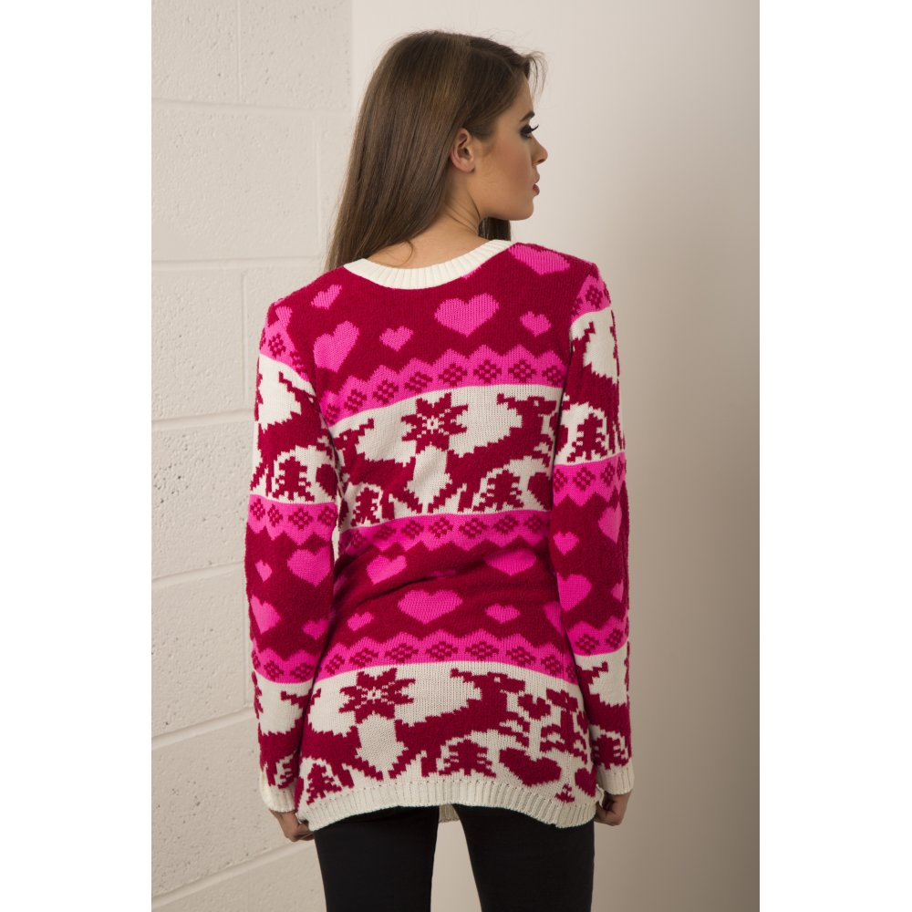Clothing knitwear knitted christmas jumper dress in pink