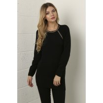 Knitted Jumper Dress in Black